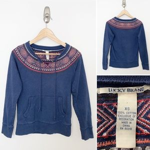 Lucky Brand Embroidered Crew Pouch Sweatshirt - XS